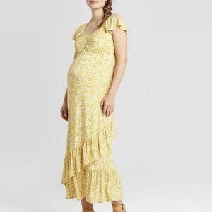 Isabel Maternity Yellow Floral Ruffle Maxi Dress